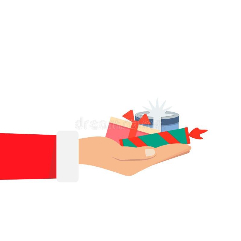 Hand von Santa Claus einen großen Stapel halten viel Weihnachtsgeschenkbox auf weißem Hintergrund vektor abbildung
