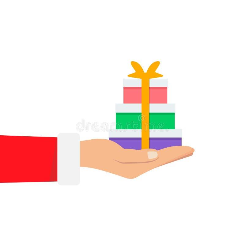 Hand von Santa Claus einen großen Stapel halten viel Weihnachtsgeschenkbox auf weißem Hintergrund O lizenzfreie abbildung