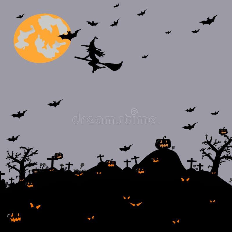 Hand voor Halloween-partijconcept dat wordt getrokken stock illustratie