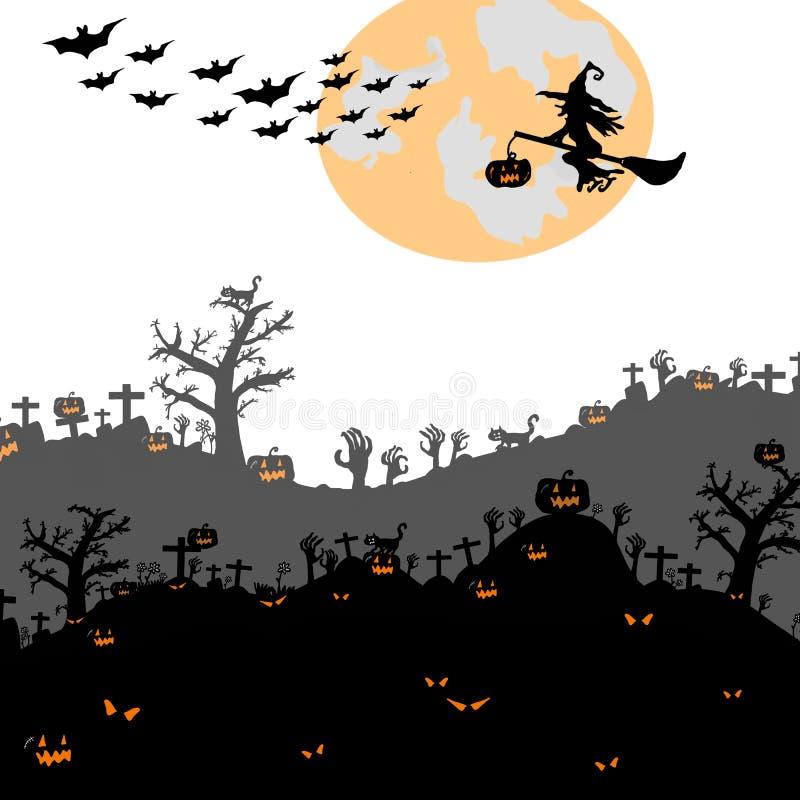 Hand voor Halloween-partijconcept dat wordt getrokken royalty-vrije illustratie