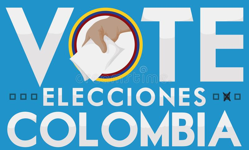 Hand with Vote to Promote Suffrage in Colombia Elections, Vector Illustration. Promotional banner to suffrage in Colombian Elections with hand holding the royalty free illustration