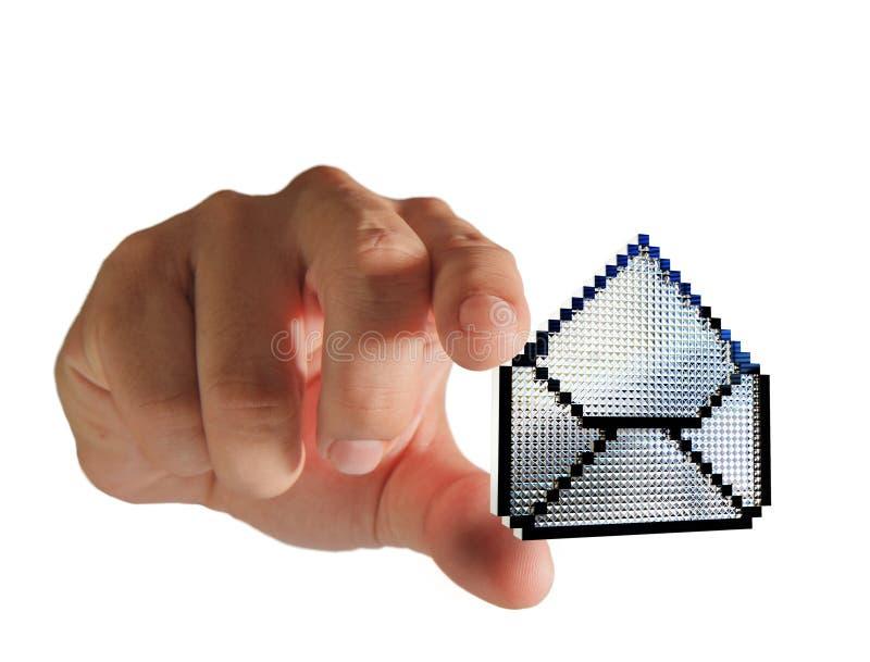 Hand wählt Pixeltasten-eMail-Ikone aus vektor abbildung
