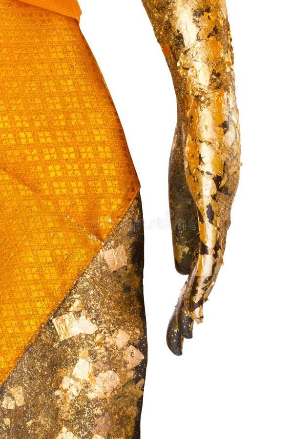 Hand and waist of Buddha stature. Close up hand and waist of gold Buddha stature stock images