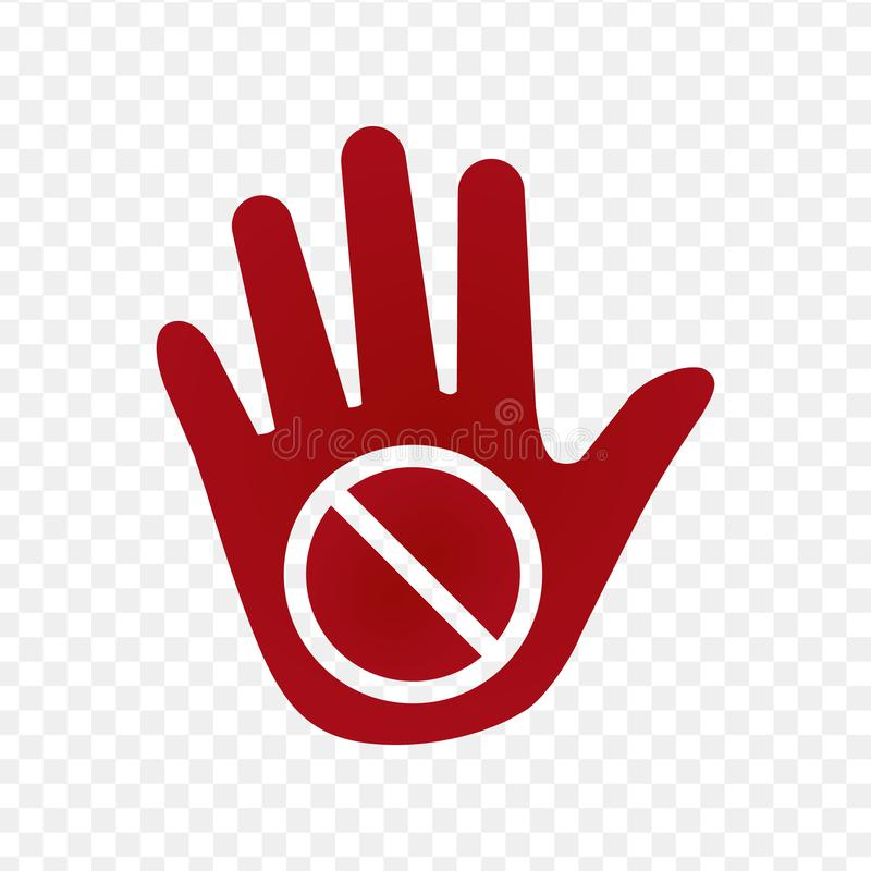 Hand warning icon, vector illustration isolated on transparent background. royalty free illustration