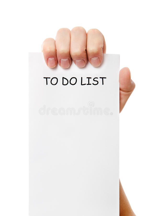 Download Hand Was Holding Of A To Do List Paper Note Stock Image - Image: 28279441
