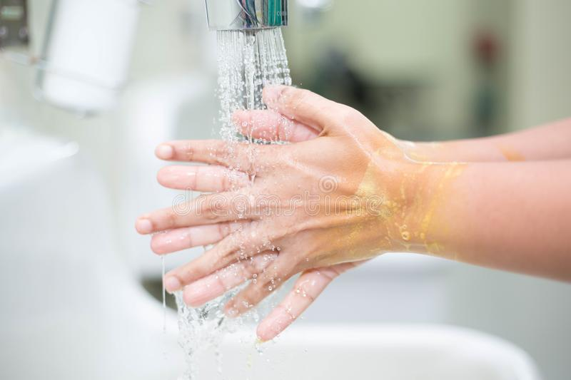 Hand washing is a cleansing stock photo