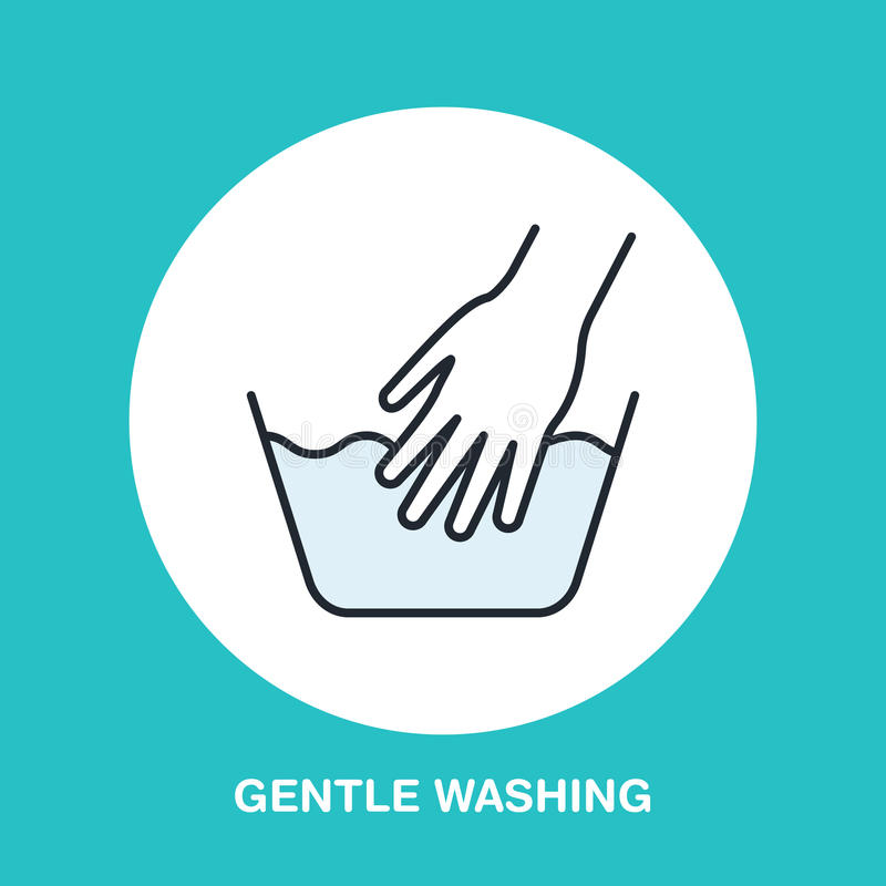 Hand washing of clothes colored flat line icon. Vector logo for laundry or dry cleaning service. Linear illustration of gentle wash stock illustration