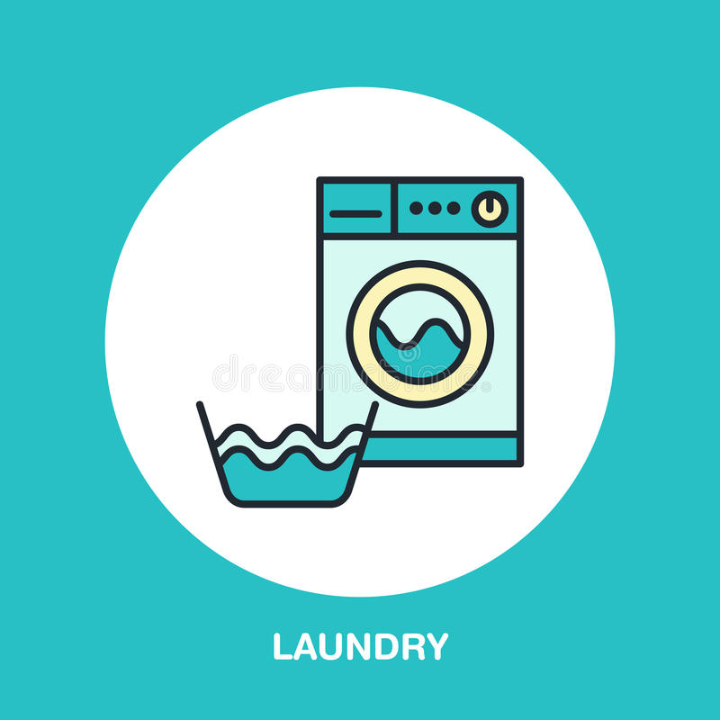 Hand washing of clothes and washing machine colored flat line icon. Vector logo for laundry or dry cleaning service. Linear illustration of gentle wash vector illustration