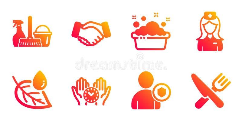 Hand washing, Leaf dew and Security icons set. Safe time, Handshake and Household service signs. Vector. Hand washing, Leaf dew and Security line icons set. Safe vector illustration