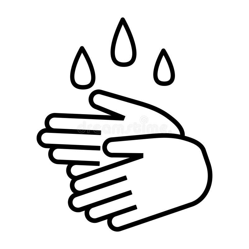 Hand washing. Line art style. Vector illustration. Cooking concept. Hand washing. Line art style. Vector icon. Cooking concept stock illustration