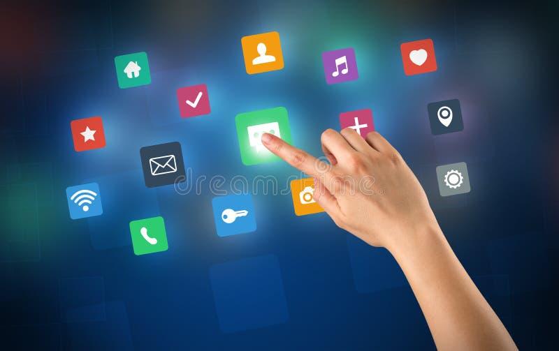 Hand wat betreft apps royalty-vrije stock foto's
