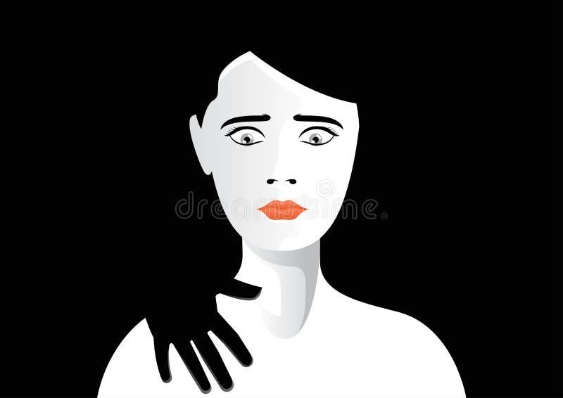 Hand wat betreft de vectorillustratie van de vrouwenschouder stock illustratie