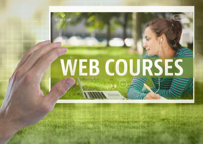 Hand wat betreft een App van Webcursussen Interface royalty-vrije stock afbeelding
