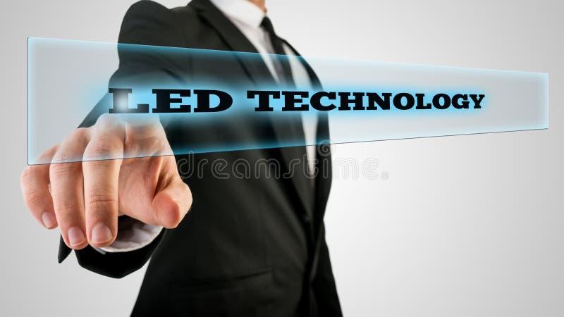 Hand wat betreft Geleide Technologiedoos op het Aanrakingsscherm stock afbeeldingen