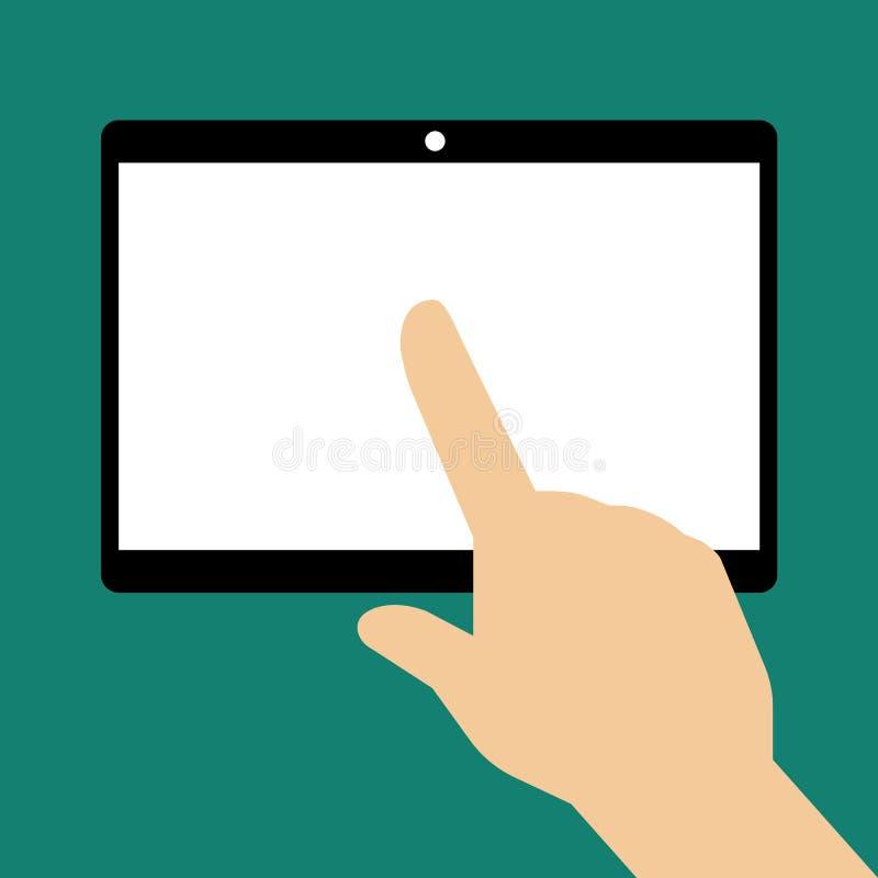 Hand wat betreft het lege scherm van tabletcomputer royalty-vrije illustratie