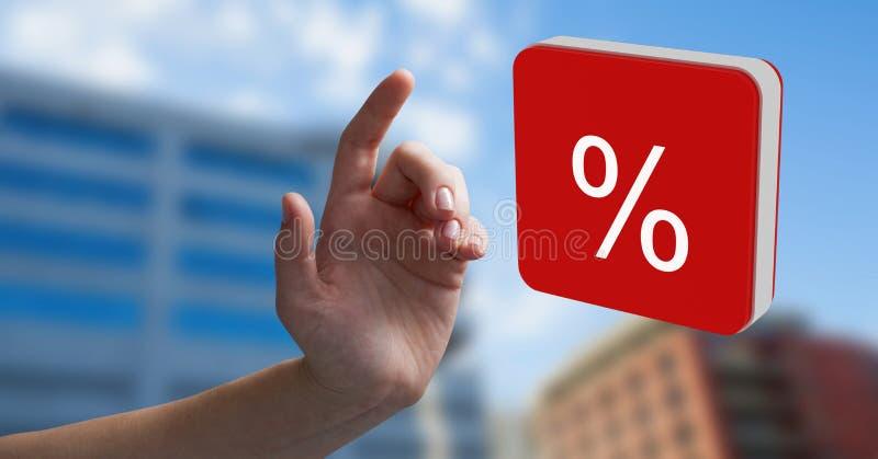 Hand wat betreft het pictogram van het percentensymbool royalty-vrije stock afbeeldingen