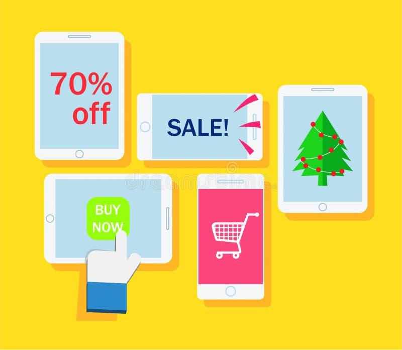 Hand wat betreft het tabletscherm met Webpictogrammen het online e-Mede winkelen, stock illustratie