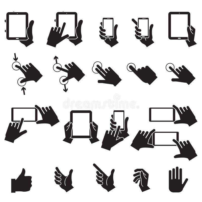 Hand wat betreft Mobiele Telefoon en Digitale Tablet, vectoreps10 stock illustratie