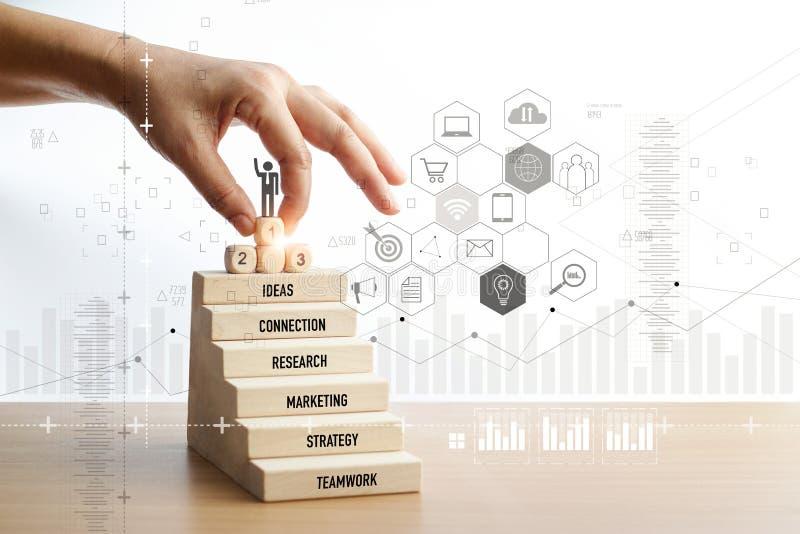 Hand wat betreft pictogramzakenman van succes, leiding, sociaal netwerk en het digitale matketing, personeel en beheer royalty-vrije stock afbeeldingen