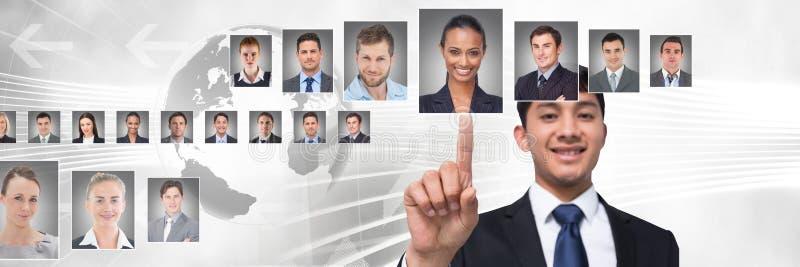 Hand wat betreft portretprofielen van verschillende mensen royalty-vrije stock afbeelding