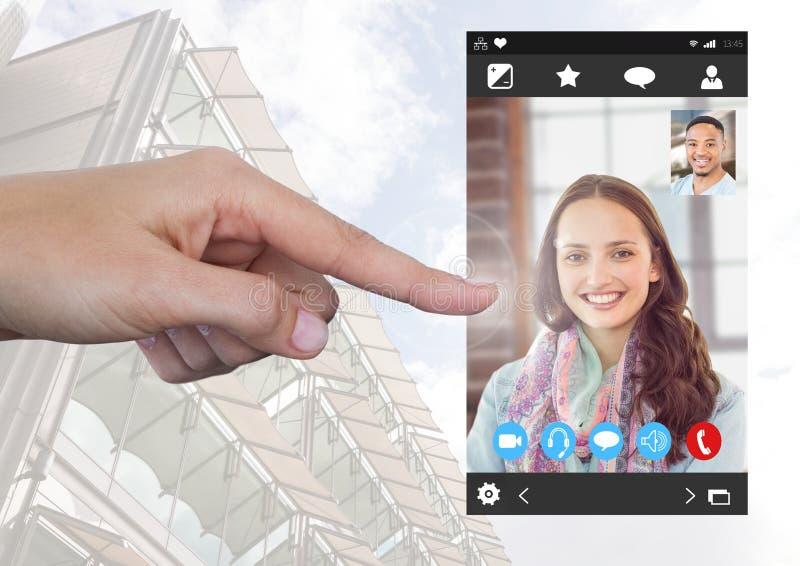 Hand wat betreft Sociale Videopraatjeapp Interface royalty-vrije stock foto's