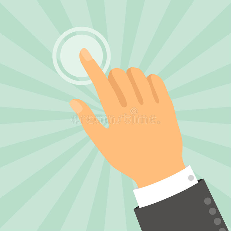 Hand wat betreft vinger in vlakke ontwerpstijl vector illustratie