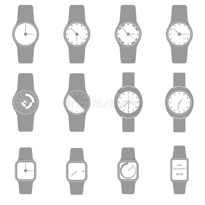 Hand watch icon set, Minimalist icon design, Vector, Illustration. royalty free illustration