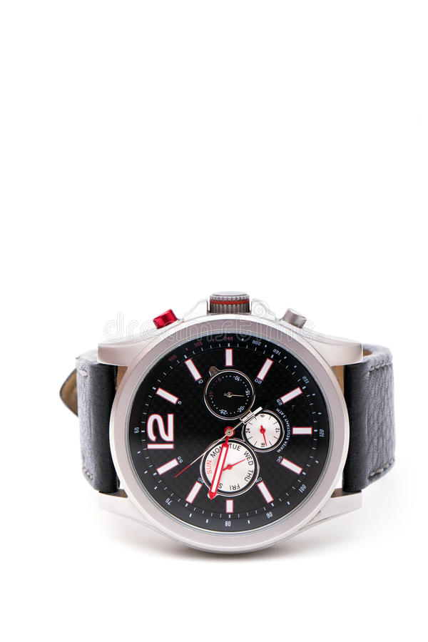 Hand watch. Macro, isolated,leather wrist let with clipping path stock photography