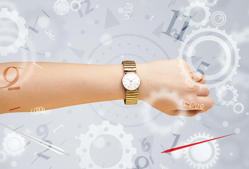 Hand with watch and numbers on the side comming out. Hand with watch and numbers comming out on the side stock image