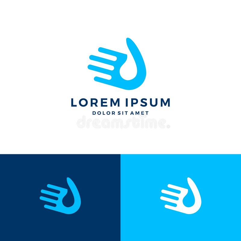 Hand water drop logo. Vector icon download stock illustration