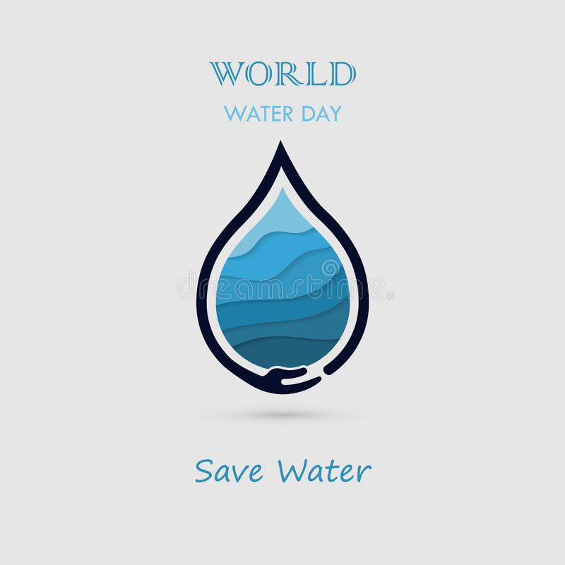 Hand and Water drop with water waves icon vector logo design template.World Water Day icon.World Water Day idea campaign for. Greeting card and poster.Vector stock illustration