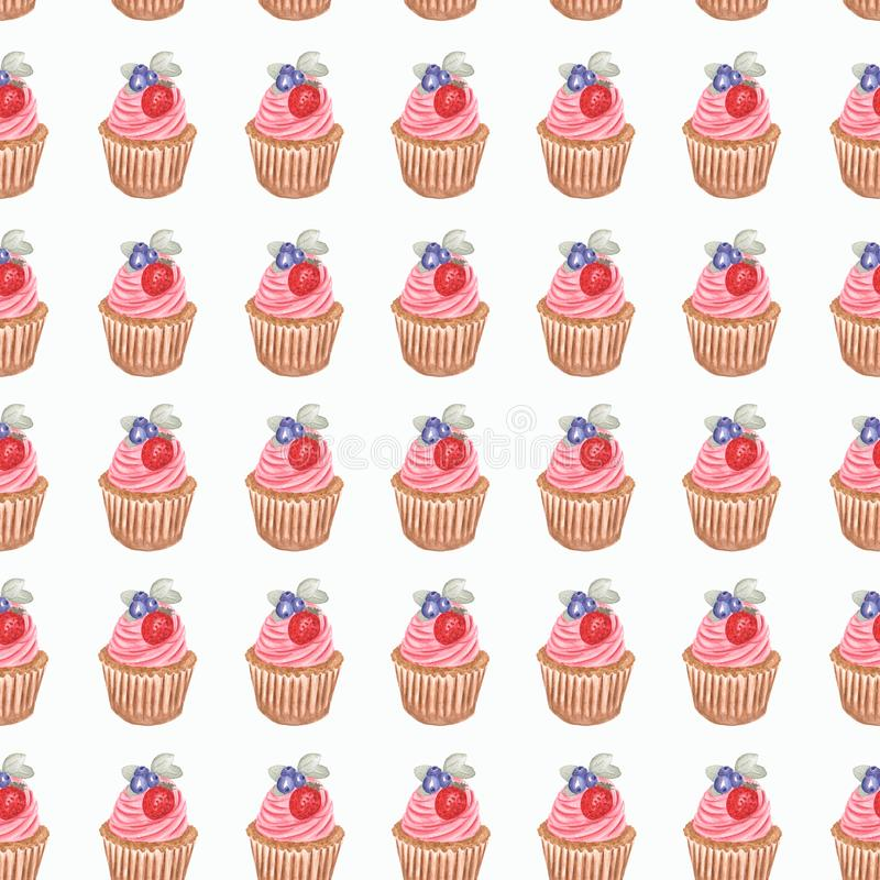 Hand watercolor cup cake pattern, Watercolor drawing, isolated on white vector illustration