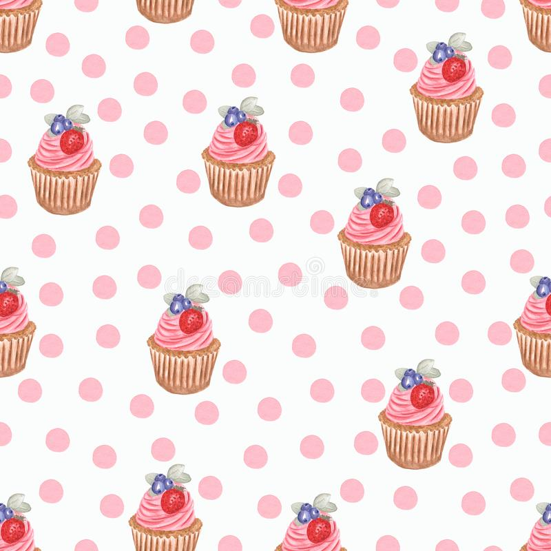 Hand watercolor cup cake pattern, Watercolor drawing,isolated on white. perfect for birthday invitations and design, fabric, etc vector illustration