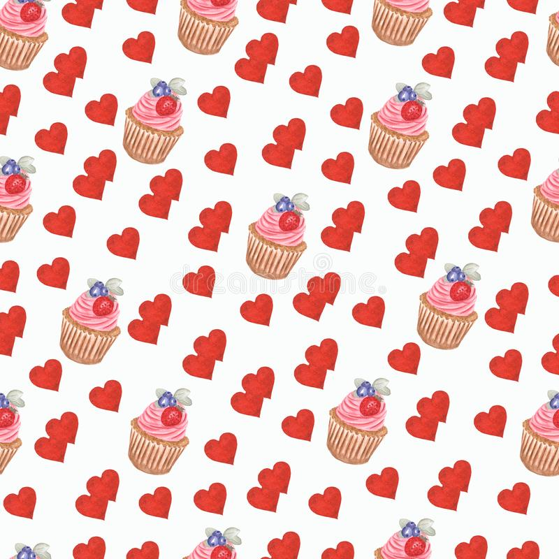 Hand watercolor cup cake and valentines hearts pattern.perfect for birthday invitations and design, fabric, etc royalty free illustration