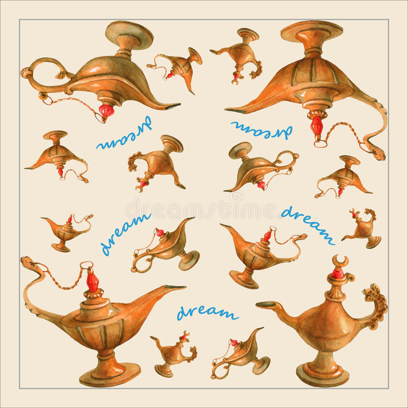 Hand watercolor illustration of magical Aladdin's genie lamp vector illustration
