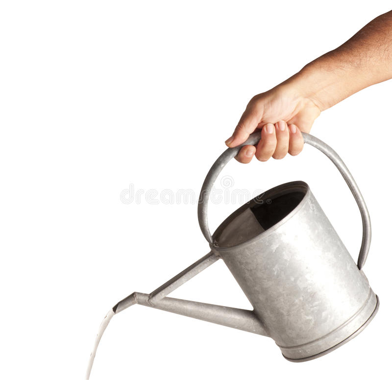 Download Hand with Watering stock photo. Image of cropped, metal - 21948182