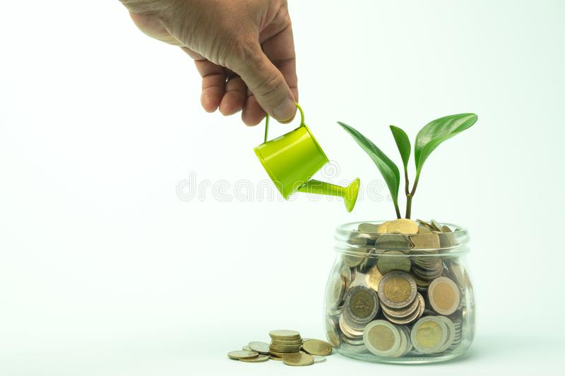 Hand watering plant with coins in glass jar for idea,saving money glowing business concept. stock photos