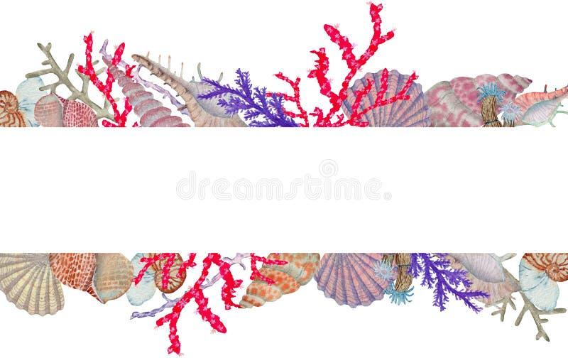 Hand in waterverf overzees wereld natuurlijk element dat wordt getrokken Het kadergrens van de koralenertsader op witte achtergro stock illustratie
