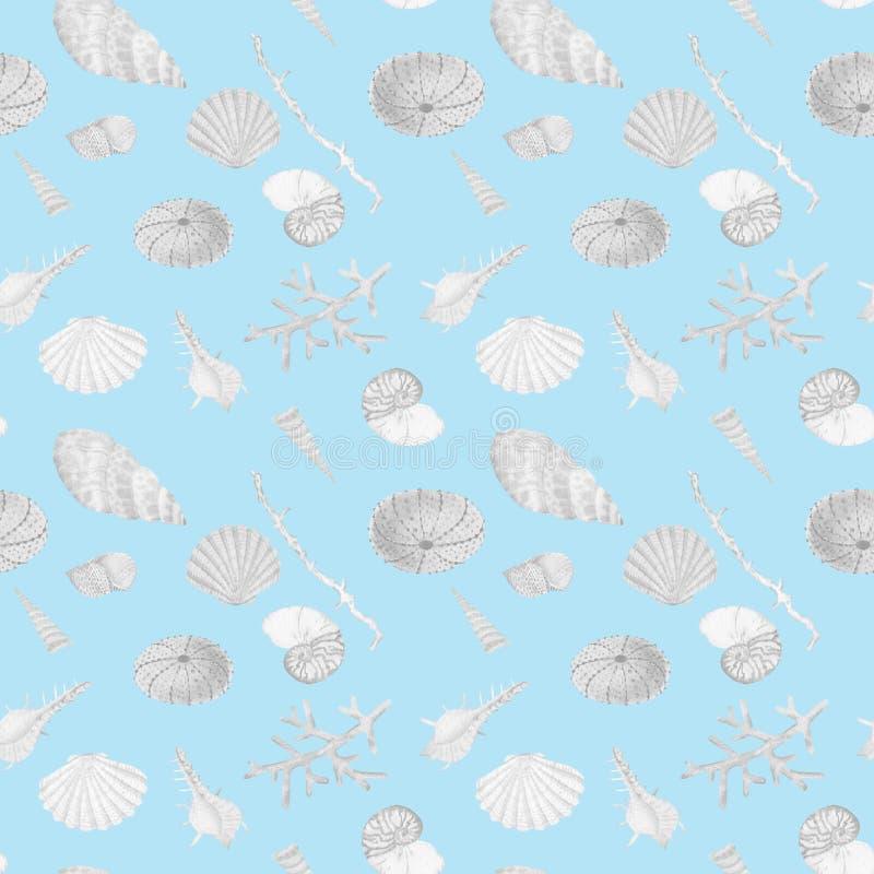 Hand in waterverf overzees wereld natuurlijk element dat wordt getrokken Het seemless patroon van de koralenertsader op blauwe ac stock illustratie
