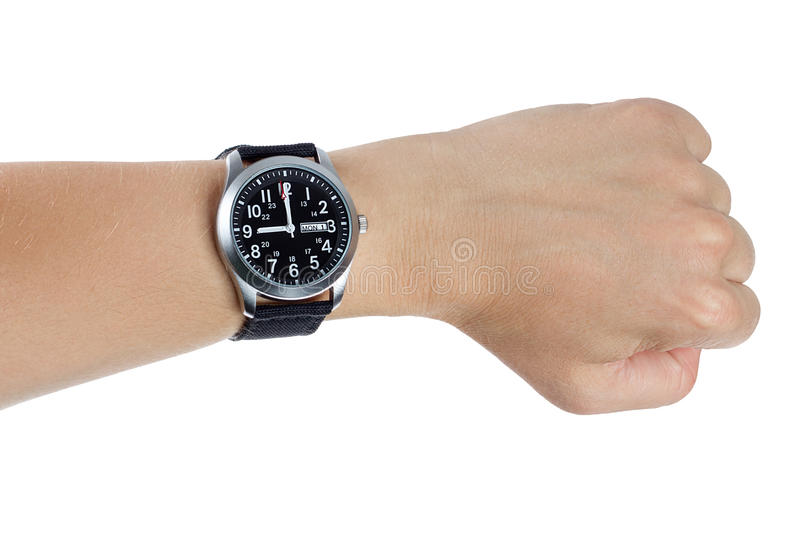 Download A Hand Wearing A Black Wrist Watch Stock Image - Image: 32785657