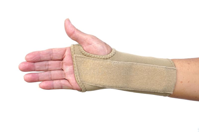 Hand wearing hand wrist therapy support glove royalty free stock photos