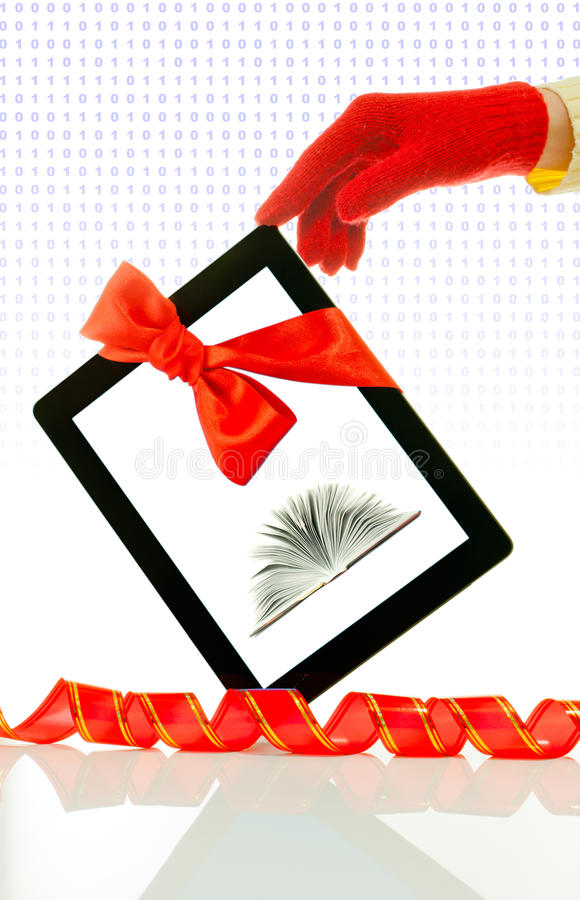 Download Hand Wearing Red Gloves Holding Tablet PC Royalty Free Stock Image - Image: 22839606