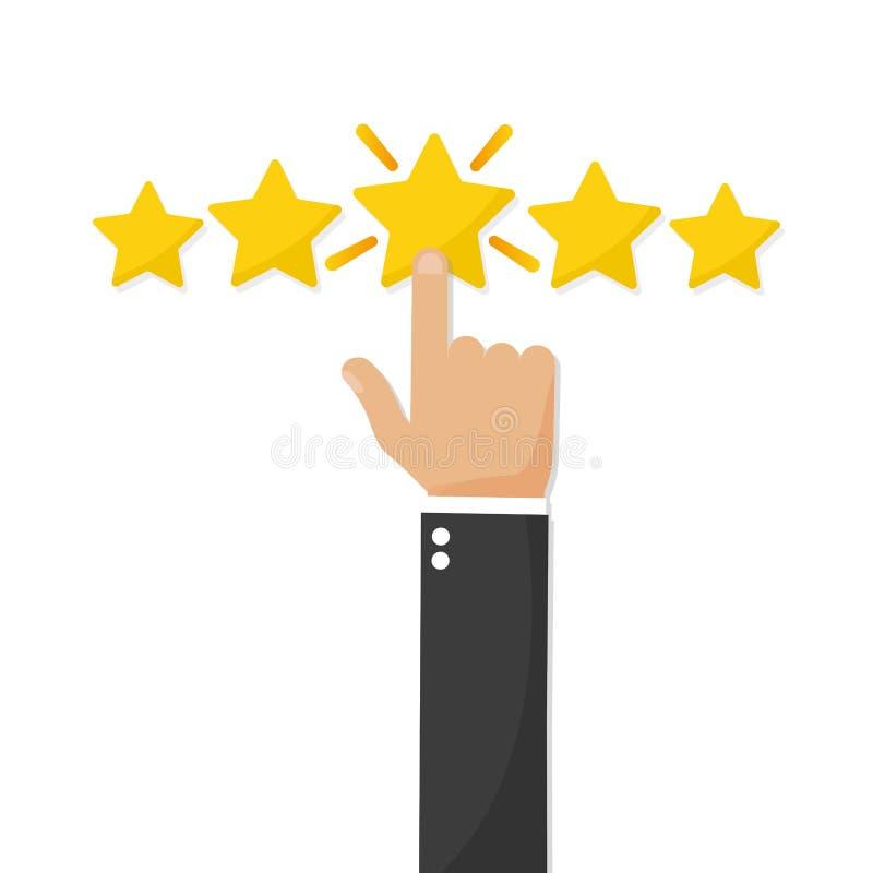 Hand, welche die Bewertung mit fünf Sternen, Feedbackkonzept gibt stock abbildung