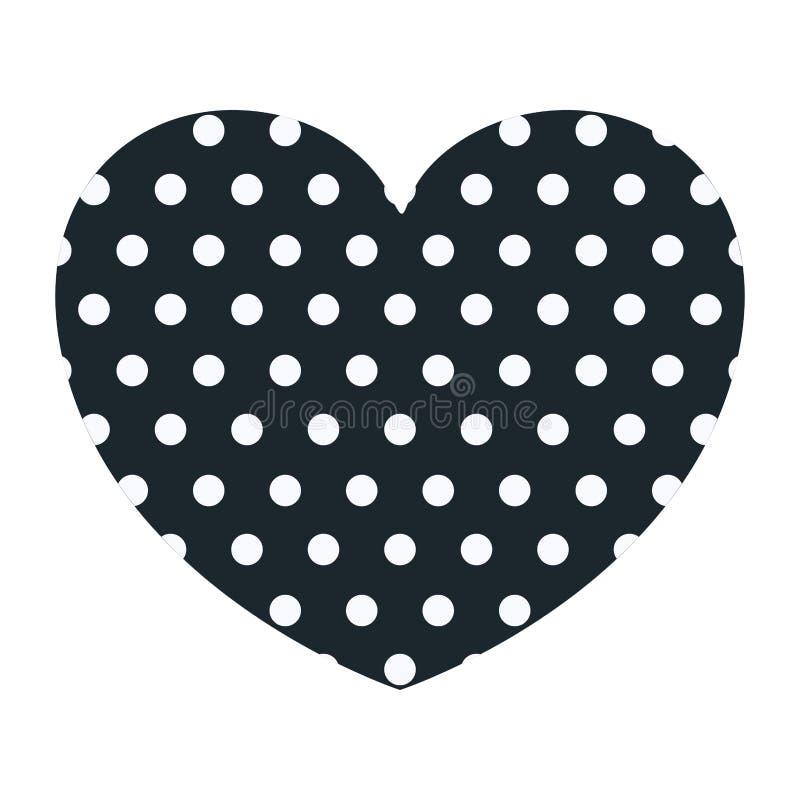 Hand, welche die dunkelblaue Herzform dekorativ mit Punkten zeichnet vektor abbildung