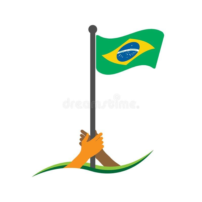 Hand, welche die Flagge hält Brasilien-Flaggenvektor Das Konzept des Haltens vom Nationalismus stock abbildung