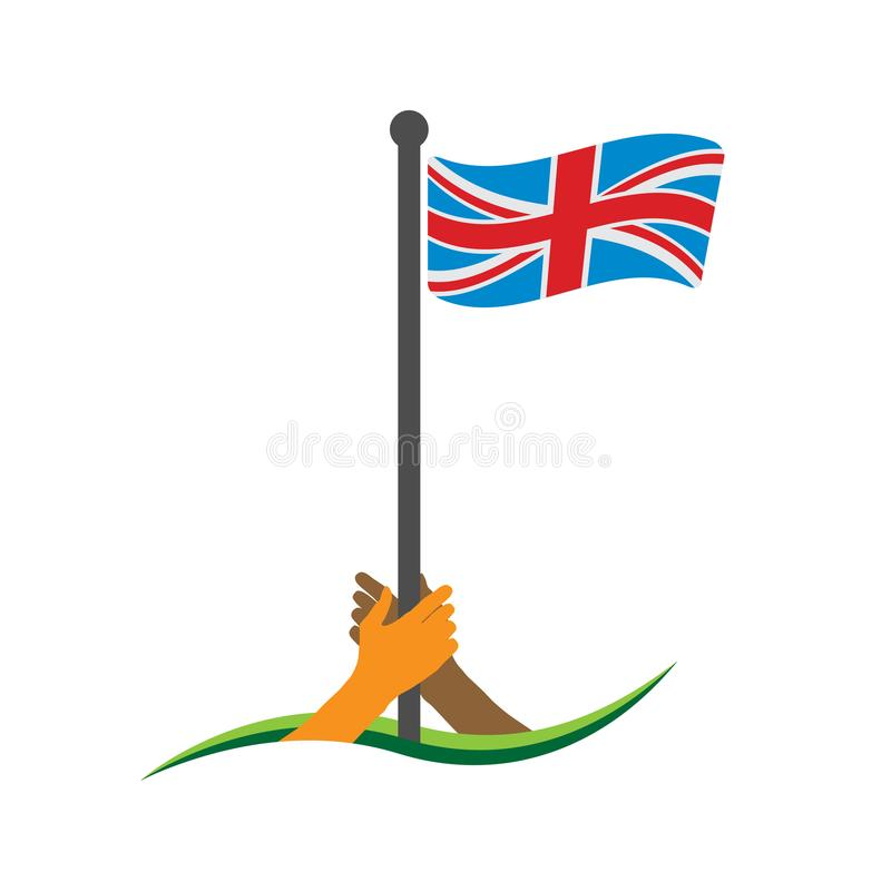 Hand, welche die Flagge hält Englischer Flaggenvektor Das Konzept des Haltens vom Nationalismus vektor abbildung