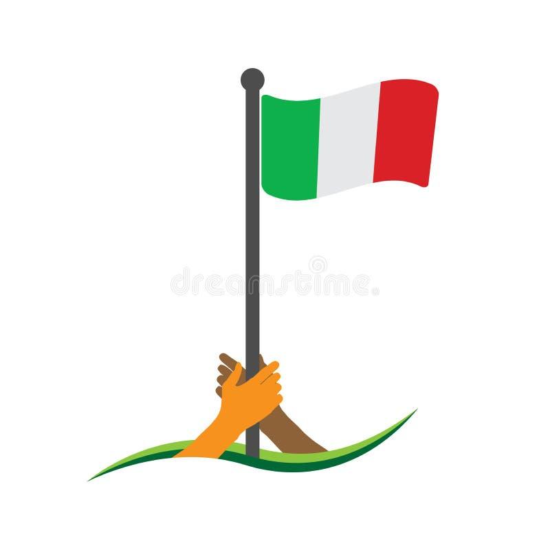 Hand, welche die Flagge hält Italien-Flaggenvektor Das Konzept des Haltens vom Nationalismus vektor abbildung