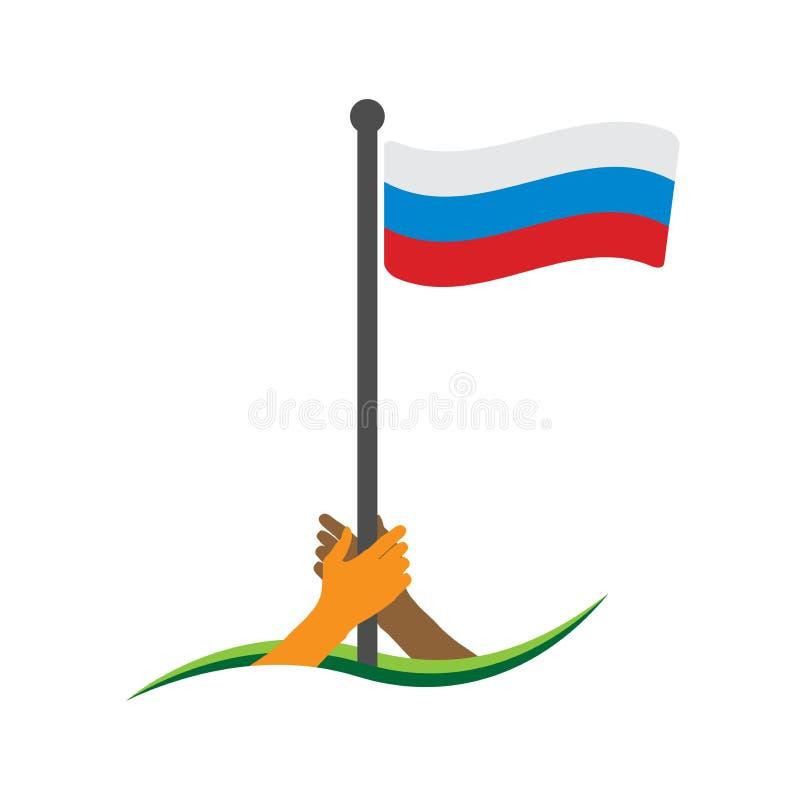 Hand, welche die Flagge hält Russischer Flaggenvektor Das Konzept des Haltens vom Nationalismus lizenzfreie abbildung