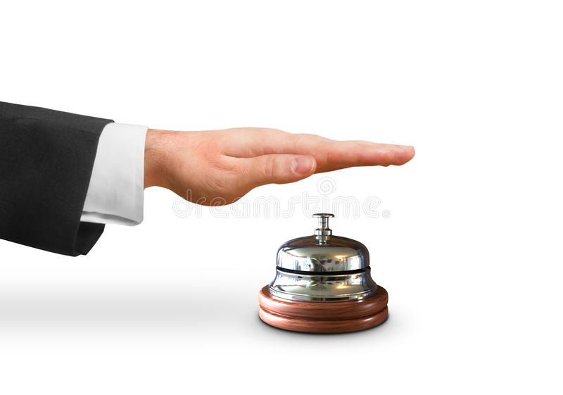 Hand, welche die Glocke schellt stockbilder
