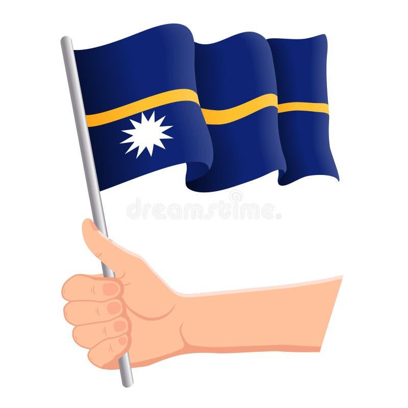 Hand, welche die Staatsflagge von Nauru hält und wellenartig bewegt r Auch im corel abgehobenen Betrag lizenzfreie abbildung